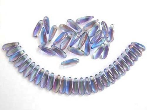 50 Multicolore Czech glass Dagger Beads 3x10mm tt004