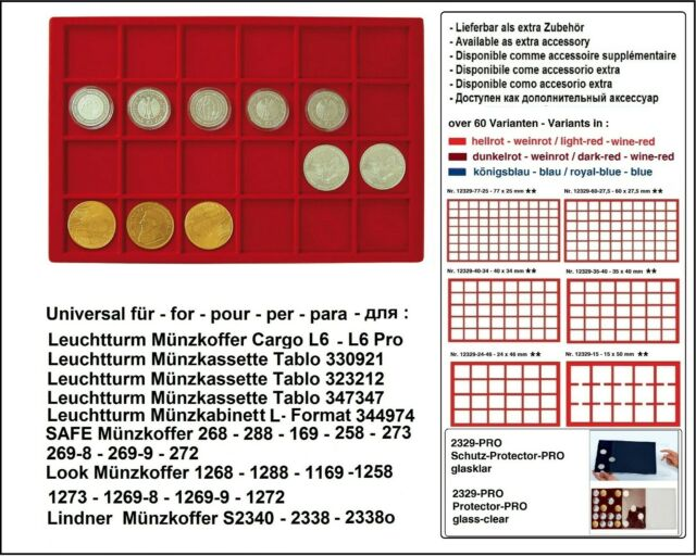 Look 12329-24-46 Coin Trays Red 24 Compartments 46 mm for US$ Silver Eagle