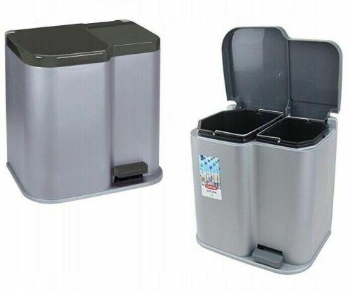Curver Mülleimer für Müllsortierung mit Pedal DUO BIN 21L Silber//Dunkelgrau