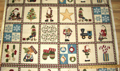 "Here Comes Santa Elf Northcott Christmas Fabric Block Panel 23/""   #1764"