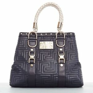 e3b551b223 Image is loading GIANNI-VERSACE-COUTURE-Greca-quilted-black-leather-gold-