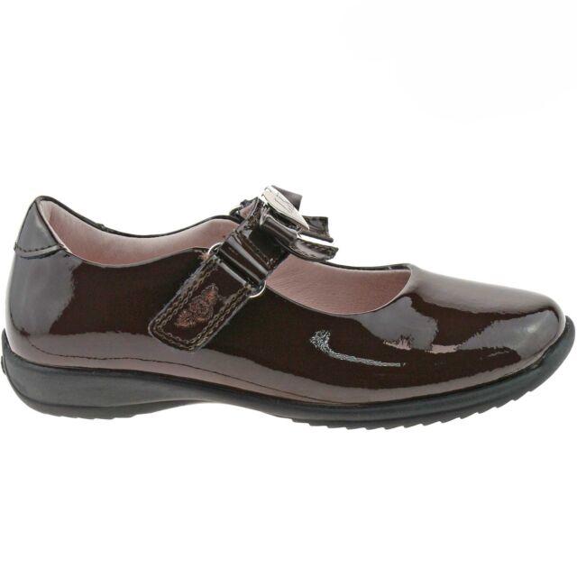 Brown Patent Perrie School Shoes F Width DJ01 Lelli Kelly LK8206