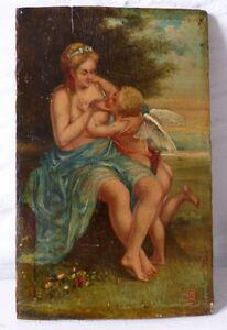Livraison Rapide Peinture Sur Bois, Femme Et Angelot, époque Xix ème