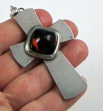 Vintage 1960s Signed Jorgen Jensen Modernist Pewter Amber Glass Cross Necklace