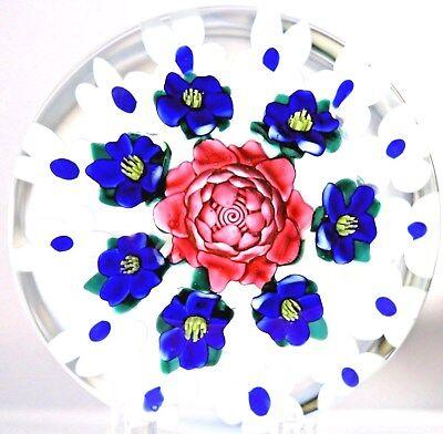 Gorgeous KEN ROSENFELD Blue / White FLOWERS & PINK ROSE Art Glass PAPERWEIGHT