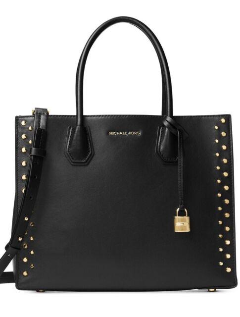 New Michael Kors Studio Mercer Gold Studded Large Convertible Tote Black Bag