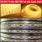 Tri-chip 5050 led strip 220V 240V neutral white flex tape rope light red green