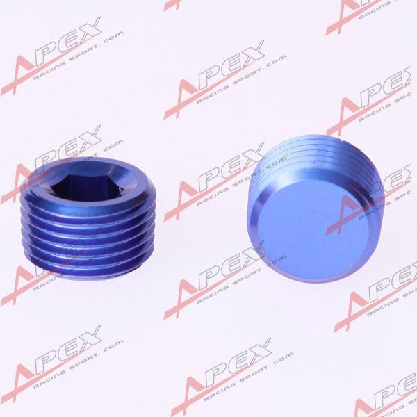 "1/4"" NPT Pipe Thread Allen Socket Plug Aluminum Blue"