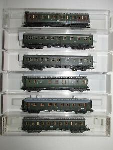 6-Fleischmann-Passenger-Cars-8046K-8780K-8803-8860K-8861K-8891-2-Boxed-Scale-N