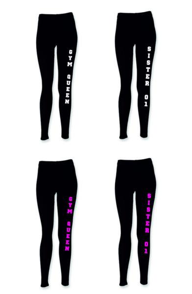 Leggings Sporthose mit Sister 01 oder gym Queen Leggins schwarz Fitness sis