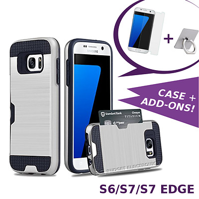 Samsung Galaxy S6/S7/S7 EDGE Hyrbid Case Shockproof Cover with Credit Card Slot