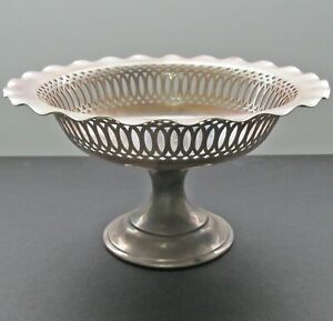 Antique Reed & Barton Tazza Bowl Footed Compote Card Receiver Silver Plated Mono