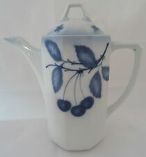 Art Deco Kaffeekanne Porzellan Kanne blaue Kirschen Krautzberger Teplitz 20er
