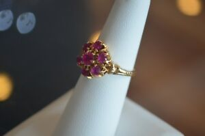 ANTIQUE-VICTORIAN-RUBY-10K-YELLOW-GOLD-RING-C-1890-CLUSTER-FLOWER