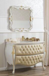 Détails sur Meuble salle de bain avec miroir Ramirez style Baroque Vénitien  bombé crackle et