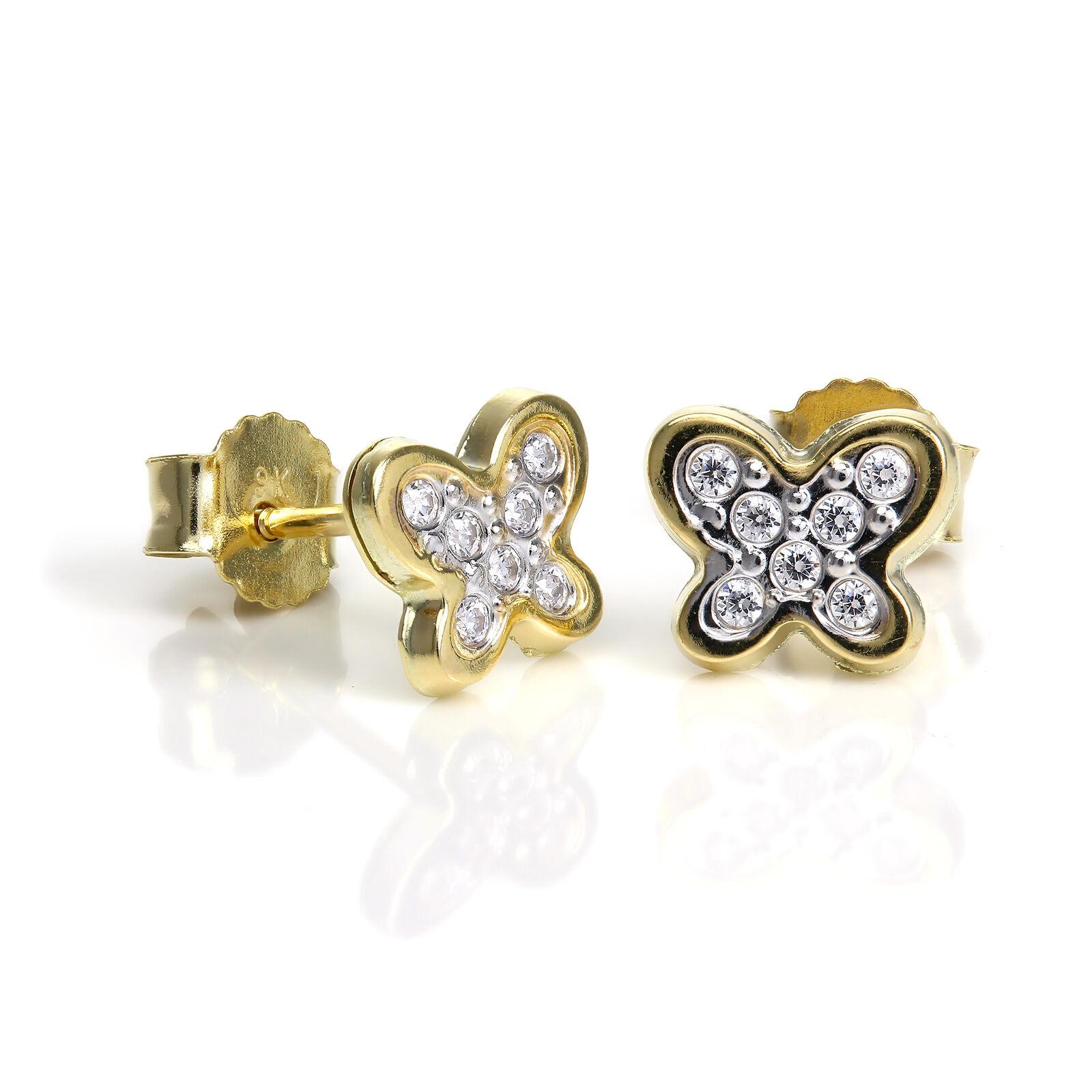 9ct gold & Clear CZ Crystal Encrusted Butterfly Stud Earrings Studs Butterflies