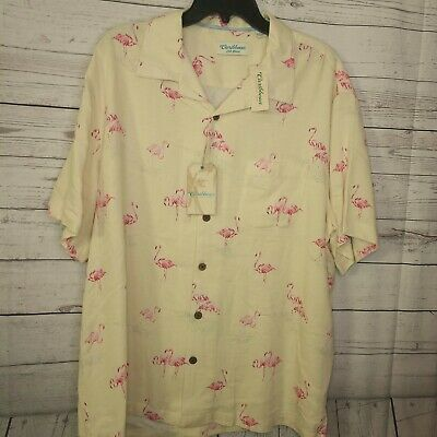 Caribbean by Roundtree /& Yorke Silk Blend Black Print Floral Color Shirt $89.50