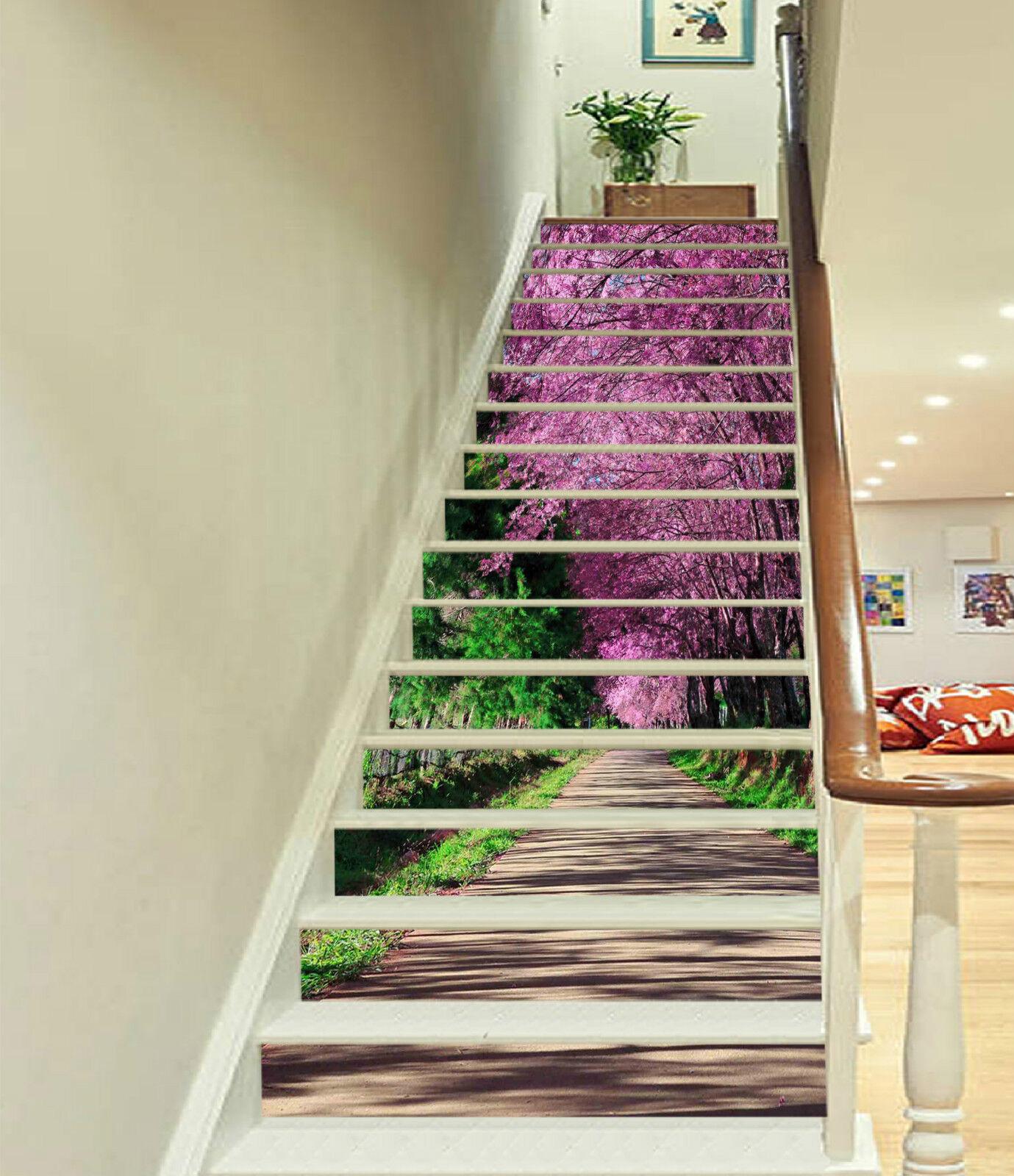3D Bäume Baum 062 Stair Risers Dekoration Fototapete Vinyl Aufkleber Tapete DE