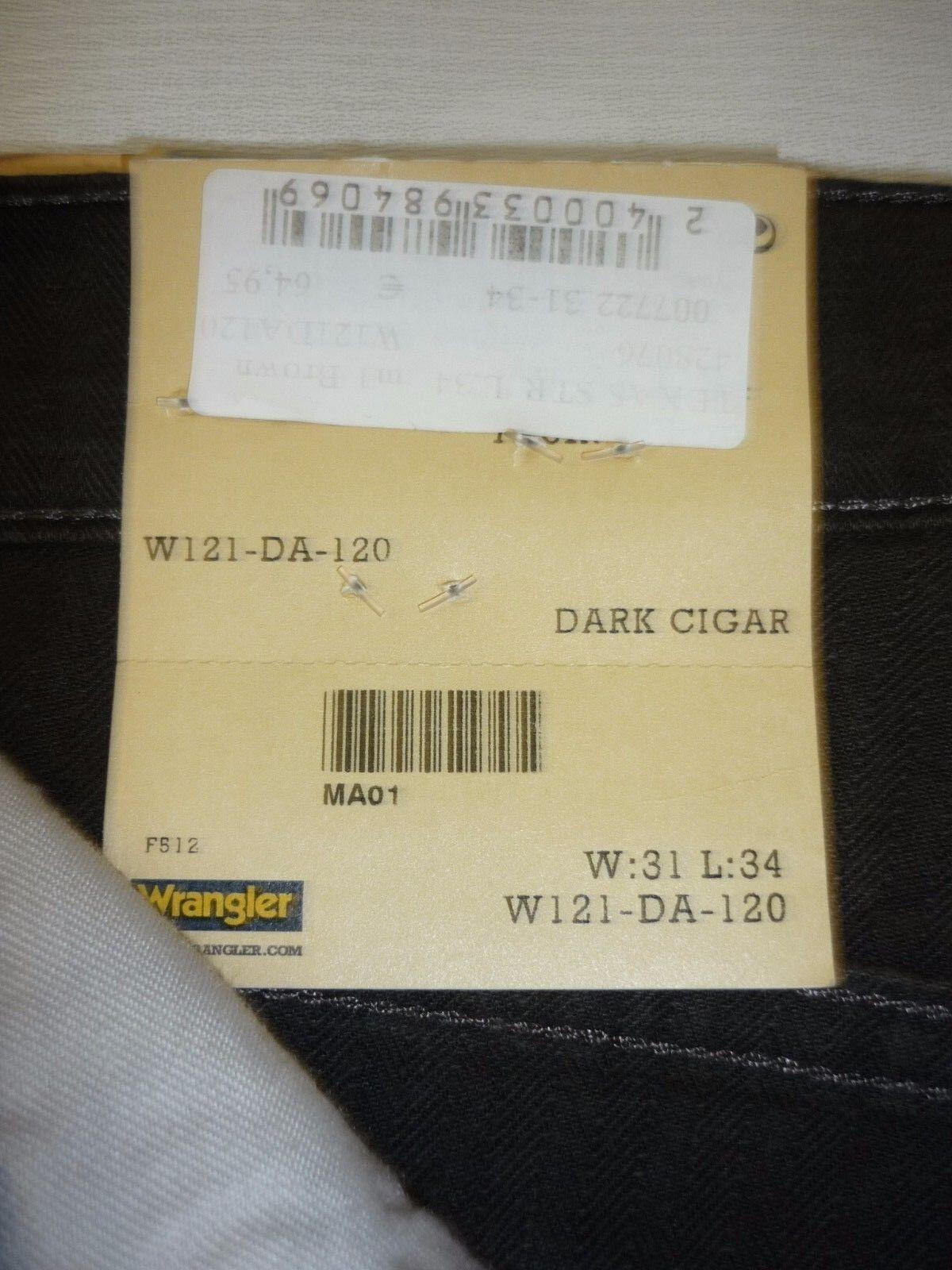 WRANGLER WRANGLER WRANGLER Texas Stretch  Herren Hose - Dark Cigar W31   L34 NEU    Abrechnungspreis  0e5f8b