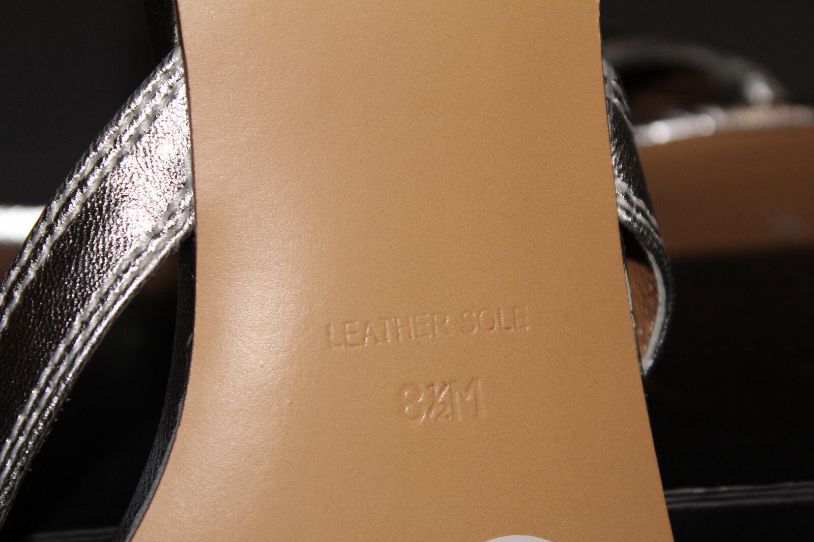 NIB LAMB L.A.M.B Metallic Flops Silver Leder Summer Flip Flops Metallic Slides Sandales Flats 92c1df