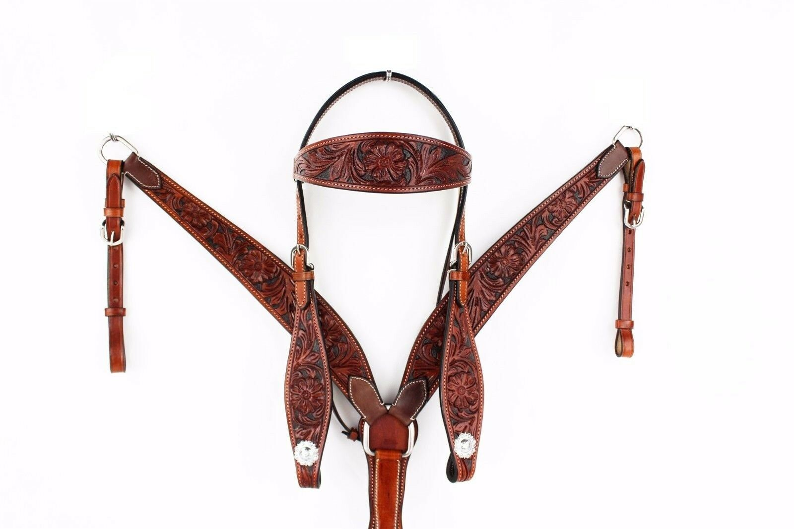 Western Dark braun Set of Hand Carved Headstall and Breast Collar