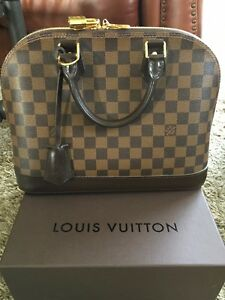 d321102a0575 Image is loading LOUIS-VUITTON-Alma-PM-Damier-Ebene-Canvas-Handbag