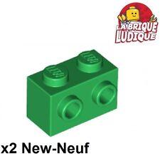 Lego - 2x Brique Brick Modified 1x2 studs 1 side vert/green 11211 NEUF