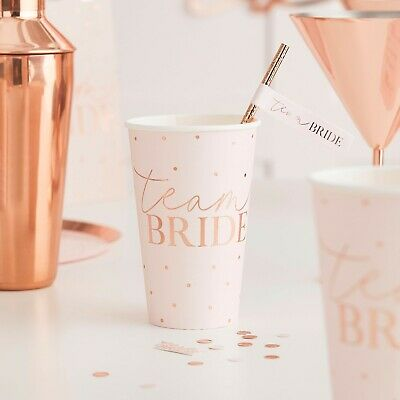 HEN PARTY Rose Gold Party PLATES x 8 Bride to Be Party Bridal Shower Team Bride