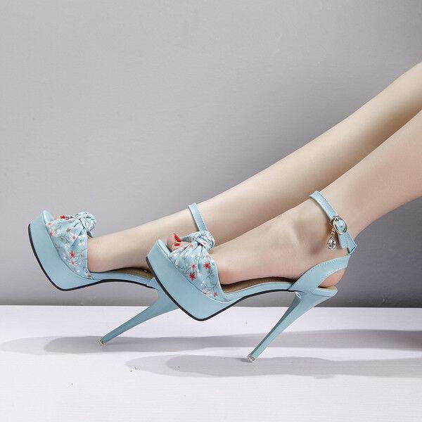 Sandali stiletto 12 cm azzurro fiori spillo plateau pelle sintetica eleganti 14