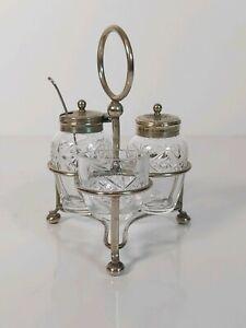 Vintage-Cristal-Glass-Silver-Plated-Cruet-Condiment-Set