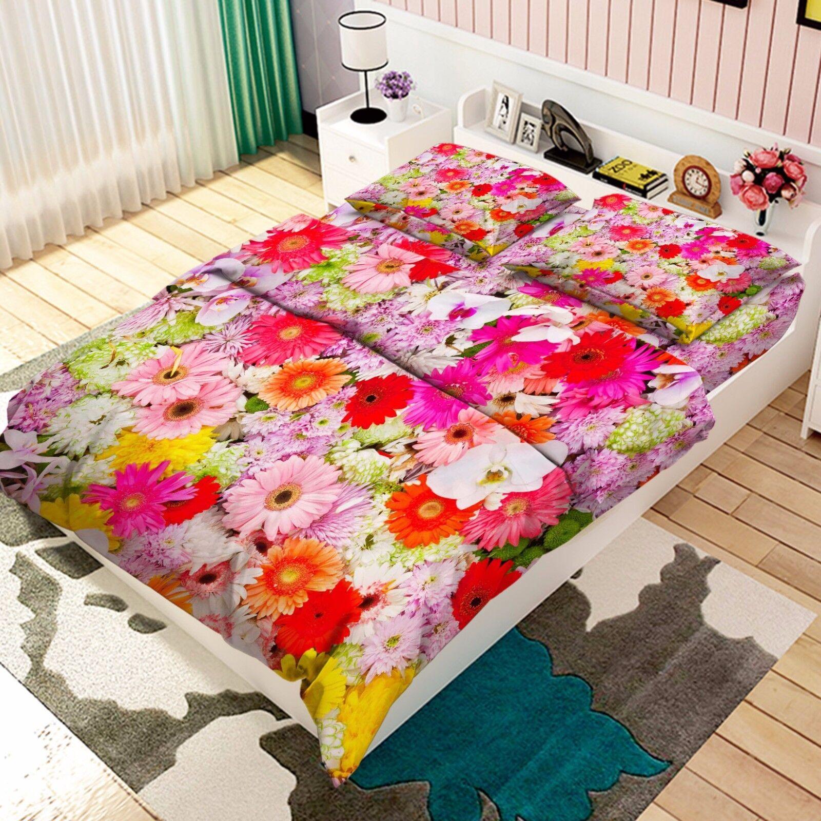 3D Flowers Bloom 876 Bed Pillowcases Quilt Duvet Cover Set Single Queen UK Kyra