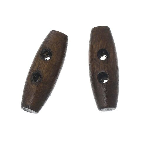 6 Dark Coffee 2 Holes Wood Toggle Sewing Buttons 20mm