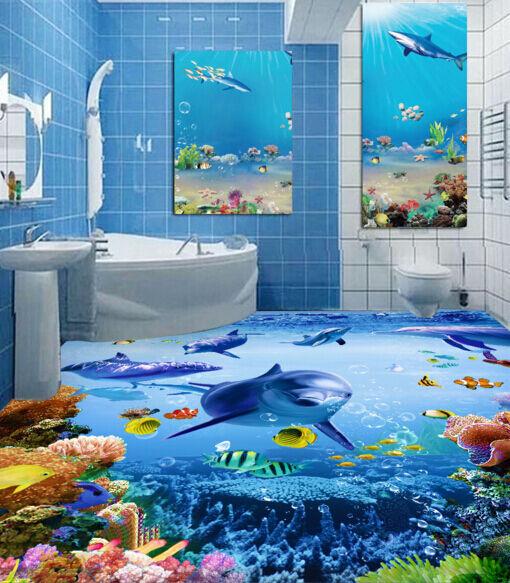 3D Mar Delfín Del Mundo Papel Pintado Mural Parojo Calcomanía de impresión de piso 5D AJ Wallpaper