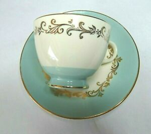 Lifetime-China-Gold-Crown-Coffee-Cup-with-Saucer-Gold-Tone-Trim-Swirl-Pattern
