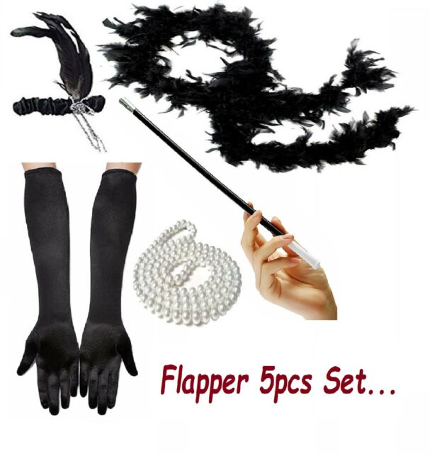 1920/'s Womens Flapper Charleston Accessory 5PCs Set Gatsby Fancy Dress Costume