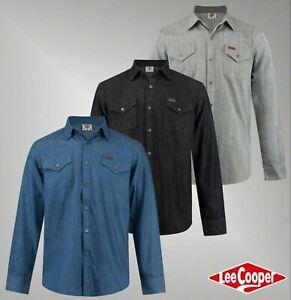 Para-Hombre-Marca-Lee-Cooper-elegantes-algodon-de-tacto-suave-Bolsillo-Denim-Camisa-Tamano-S-XXL