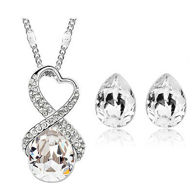 Bridal White Heart and Teardrops Jewellery Set Stud Earrings & Necklace S417