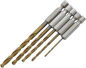 NEW-5pc-HSS-TITANIUM-COATED-HEX-SHANK-METAL-DRILL-BITS-SET-METRIC-1-4-034-6mm-HEX
