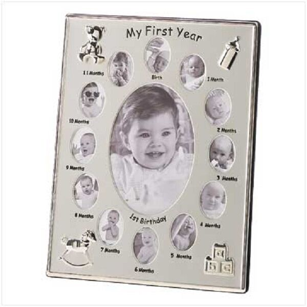 My First Year Baby Photo Frame Silver Tone 12 Small Windows And 1