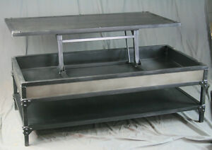 Vintage Industrial Steel Lift Top Coffee Table With Shelf. Handmade.