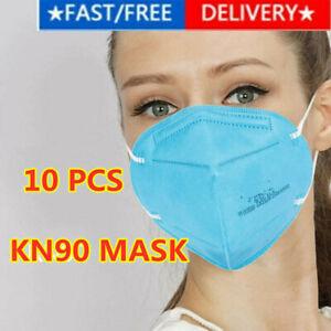 10PCS KN90 Face Mask Disposable Masks Respirator Anti-Bacteria Blue