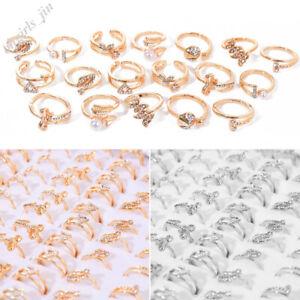 10Stk-Damen-Grosshandel-Kristall-Strass-Ringe-Gold-Silber-Edelstahl-Ring-Schmuck