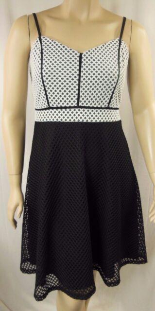 City Chic Black Strappy Pleat Geo Mesh Cocktail Dress Plus Size M 18 BNWT #P48