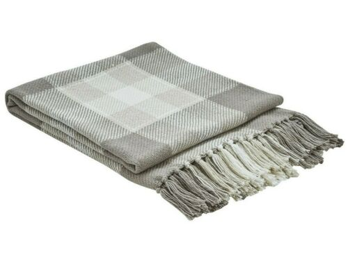 """Weathered Oak Throw Blanket CREAM TAN TAUPE Park Designs 60/""""x50/"""" Cotton Fringed"""