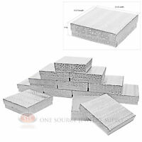 12 Silver Foil Cotton Filled Jewelry Display Gift Boxes 3 1/2 X 3 1/2 X 1