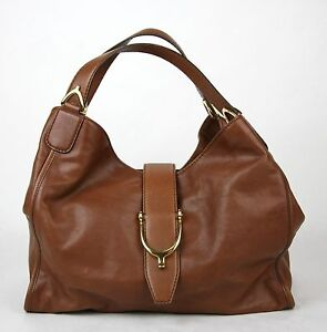 06994434ee117d New Gucci Marrone Washed Soft Calf Leather Medium 'Stirrup' Hobo Bag ...