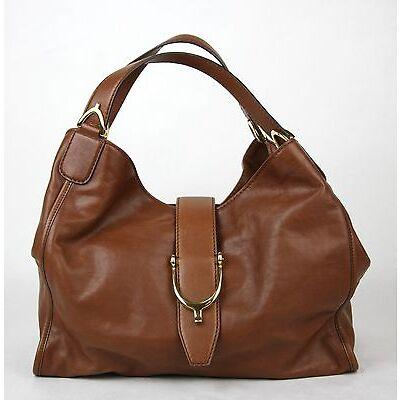 New Gucci Marrone Washed Soft Calf Leather Medium Stirrup Hobo Bag S 296856 2100