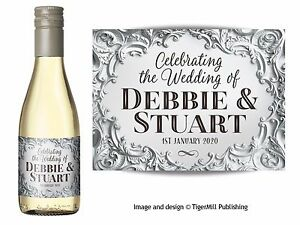 Image Is Loading Personalised Silver Mini Wine Champagne Bottle Labels Wedding