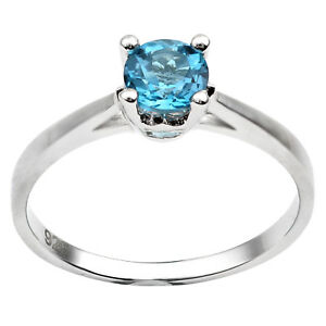 Ladies 925 sterling silver ring set with round cut gemstone topaz ring New