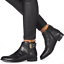 Faith-Brogana-Womens-UK-5-EU-38-Black-Leather-Zip-Up-Biker-Style-Ankle-Boots